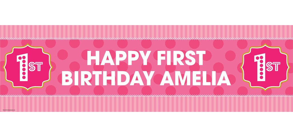 Pink! 1st Birthday Personalized Banner