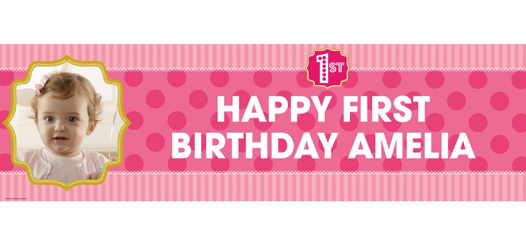 Pink! 1st Birthday Personalized Photo Banner