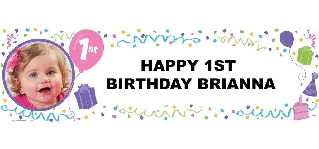 Pastel 1st Birthday Personalized Photo Banner
