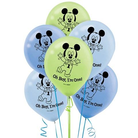 Disney Mickey 1st Birthday Latex Balloons