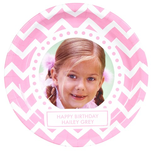 Chevron Pink Personalized Photo Dinner Plates (8)