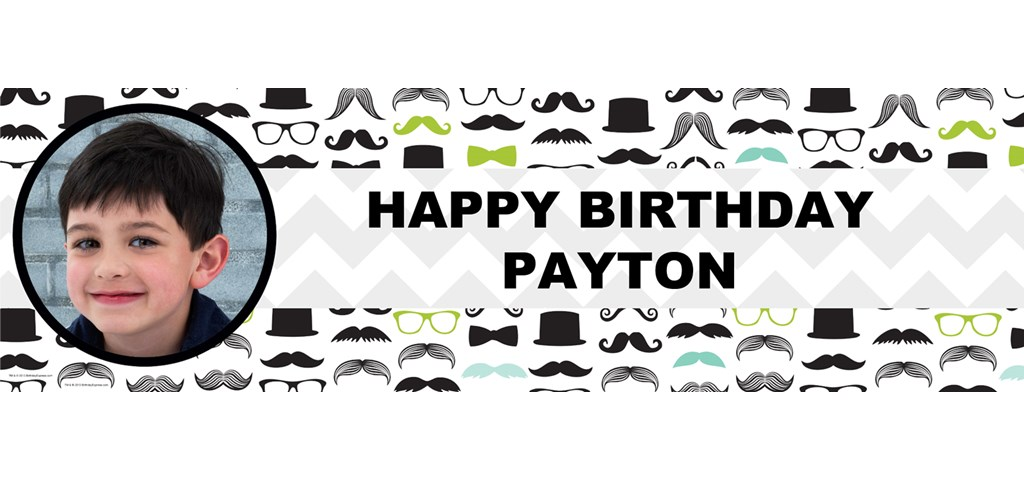 Mustache Man Personalized Photo Banner