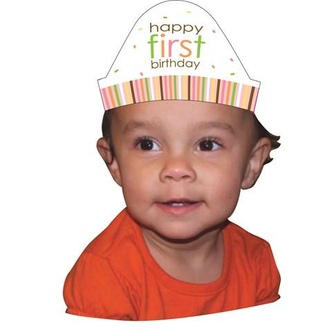 Sweet Safari Pink 1st Birthday Cone Hats