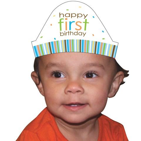 Sweet Safari Blue 1st Birthday Cone Hats