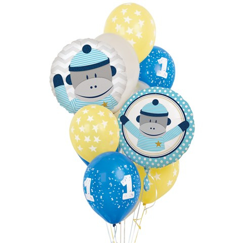 Sock Monkey Blue 1st Birthday Balloon Bouquet