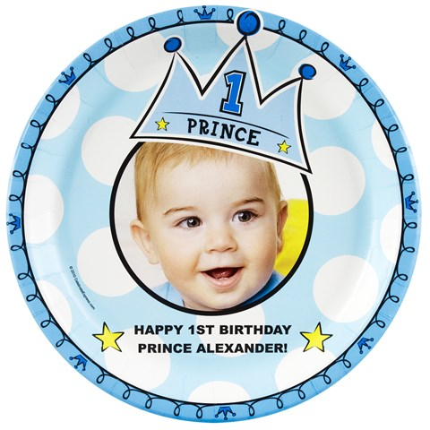 Lil' Prince 1st Birthday Personalized Dinner Plates