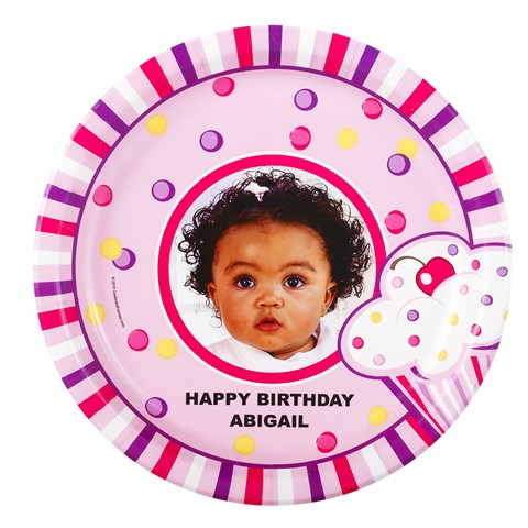 Girl's Lil' Cupcake 1st Birthday Personalized Dinner Plates