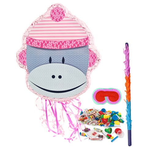 Sock Monkey Pink Pinata Kit