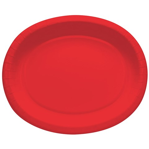 Classic Red Oval Banquet Plates