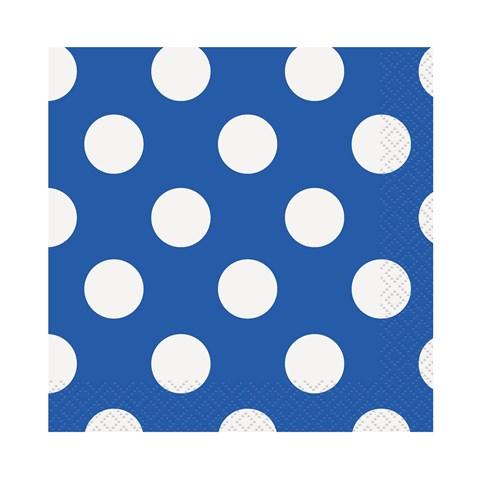 Blue and White Dots Beverage Napkins (16)