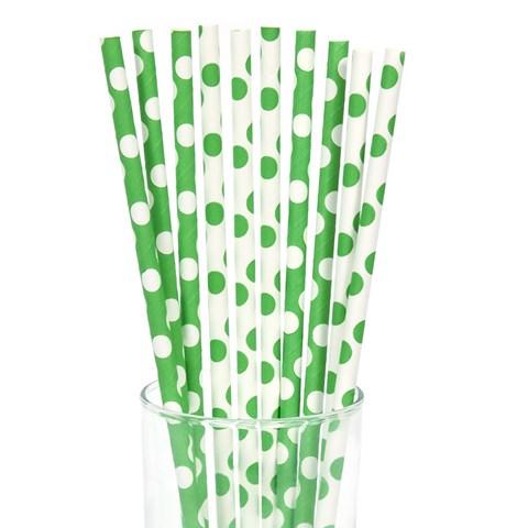 Green and White Dot Straws