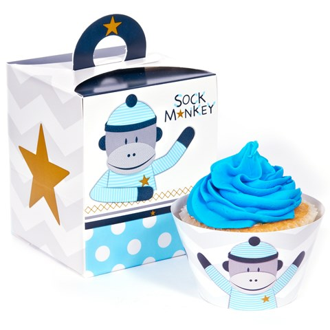 Sock Monkey Blue Cupcake Wrapper & Box Kit