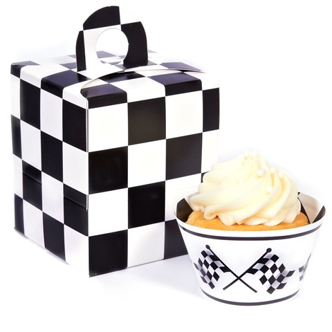 Black and White Checked Cupcake Wrapper & Box Kit