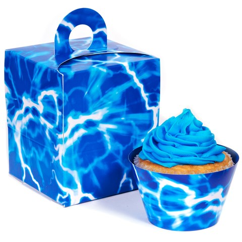 Blue Lightning Cupcake Wrapper & Box Kit