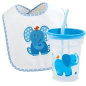 Blue Elephant Bib and Tumbler Gift Set