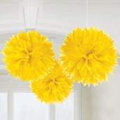 "Yellow 16 "" Fluffy Decorations (3)"