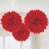 """Red 16"""" Fluffy Decorations (3)"""