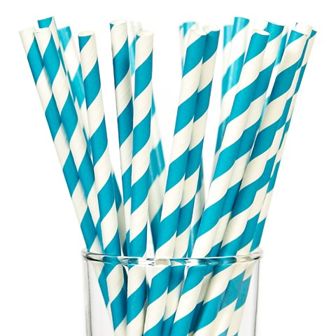 Aqua Striped Paper Straws (25)