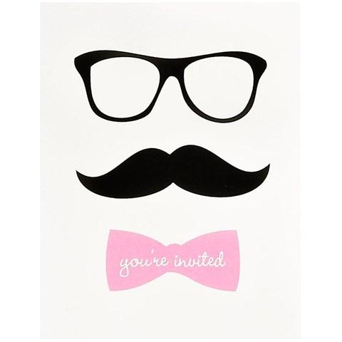 Pink Mustache Invitations (8)