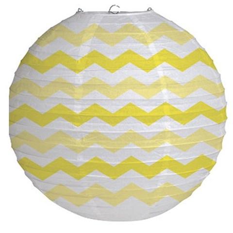 """12"""" Round Paper Chevron Lantern - Mimosa"""