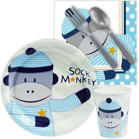 Sock Monkey Blue Playtime Snack Pack