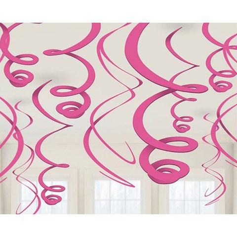 Pink Plastic Swirl Decorations (12)