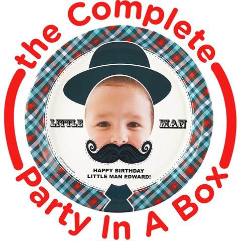 Little Man Mustache Personalized Party in a Box