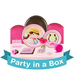 Pink Cowgirl Party in a Box - Deluxe with Favors - 16 Guests