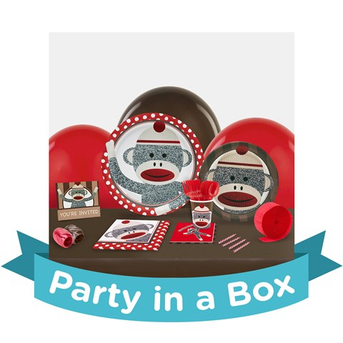 Sock Monkey Red Party in a Box