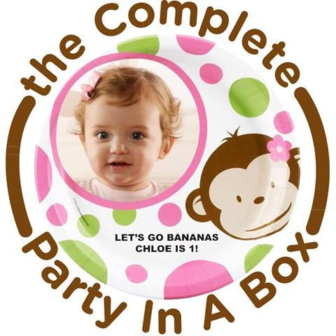 Pink Mod Monkey Personalized Party in a Box