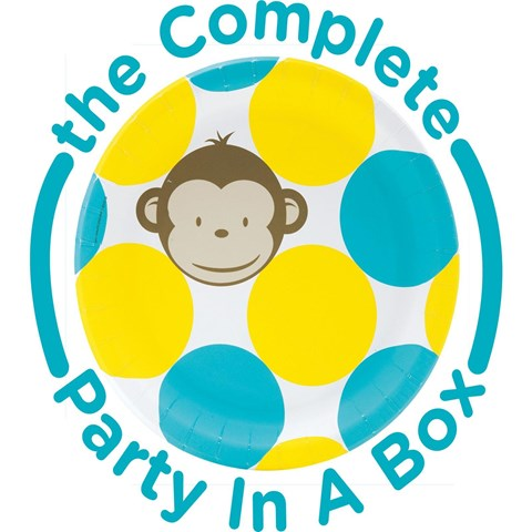 Mod Monkey Blue 1st Birthday Party in a Box
