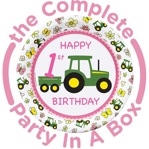 John Deere Pink 1st Birthday Party in a Box