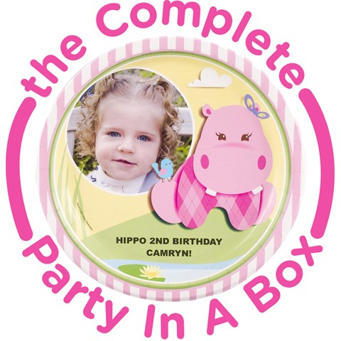 Hippo Pink Personalized Party in a Box
