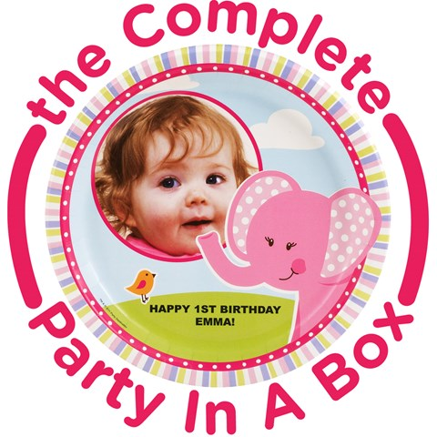 Pink Elephants 1st Birthday Personalized Party in a Box