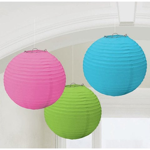 Multi-Color Round Paper Lanterns (3)