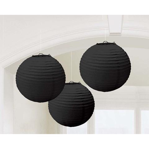 Black Round Paper Lanterns (3)