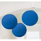 Bright Royal Blue Round Paper Lanterns (3)
