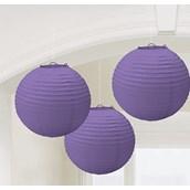 New Purple Round Paper Lanterns (3)
