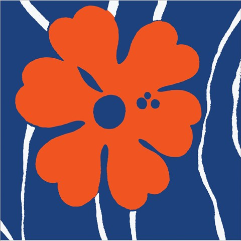 Navy and Orange Printed Lunch Napkins (16)