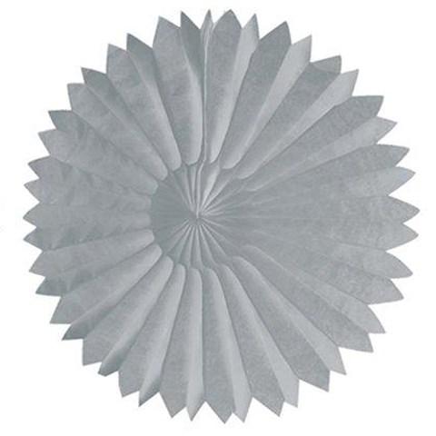 """Silver 10"""" Paper Tissue Fan"""