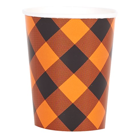 Orange and Black Plaid 9 oz. Cups (8)