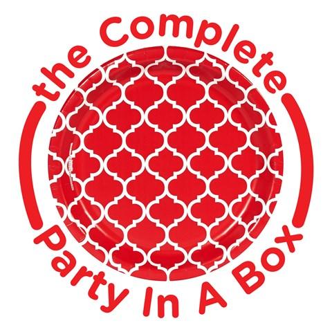 Classic Red Quatrefoil Party in a Box