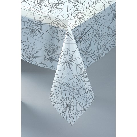 Halloween Clear Spider Web Plastic Tablecover