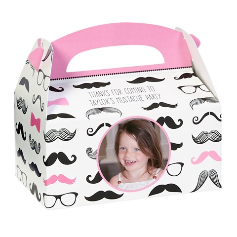 Pink Mustache Personalized Empty Favor Boxes (8)