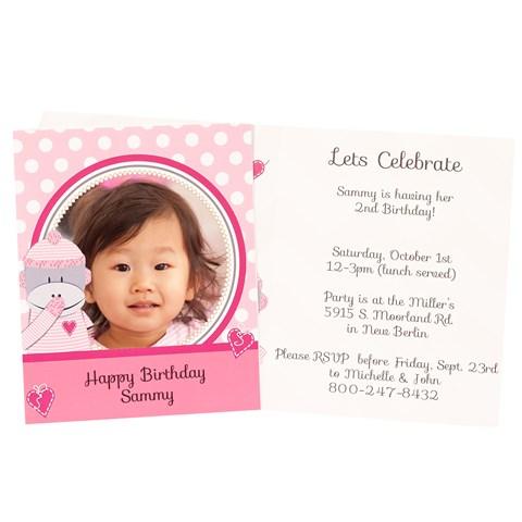 Sock Monkey Pink Personalized Invitations (8)