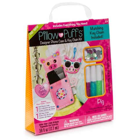 Pillow Puff Designer Pig Phone Case with Keychain