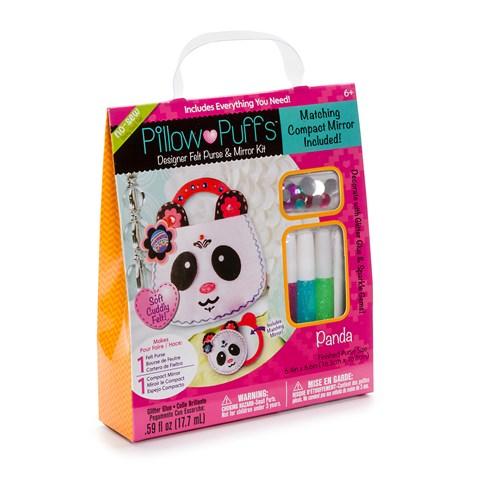 Pillow Puff Designer Panda Purse and Mirror Kit