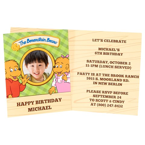 Berenstain Bears Personalized Invitations (8)