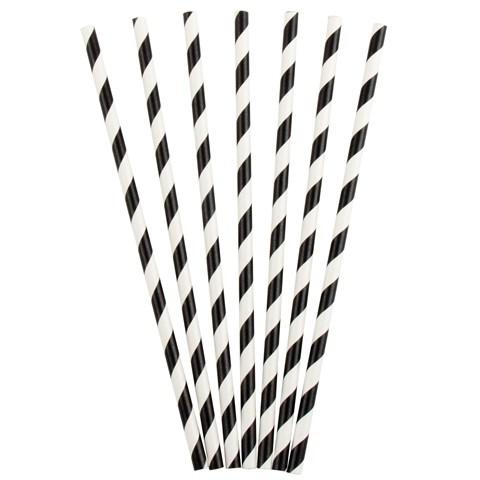 Black Striped Paper Straws