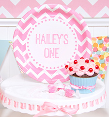Personalized Pink Chevron 1st Birthday ideas